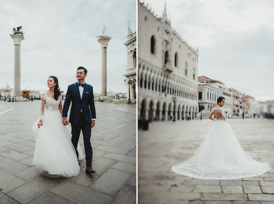 venice wedding photographer / sunrise pre wedding / bridal couple epic portrait