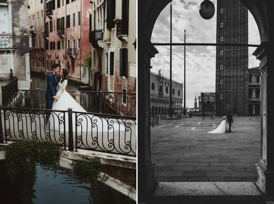 venice wedding photographer / sunrise pre wedding / bride groom vertical portrait