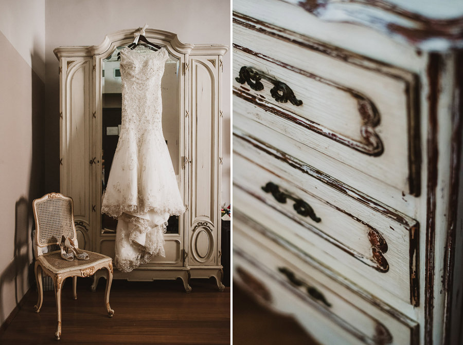Bohemian Wedding Dress - Chabby Chic Details