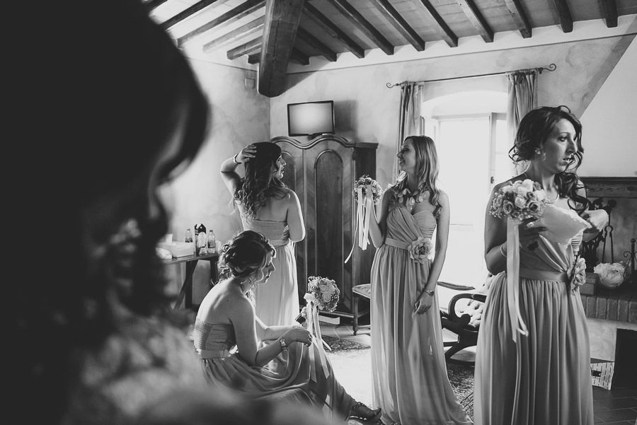 italian style outdoor wedding ceremony, Bridesmaids and maid of