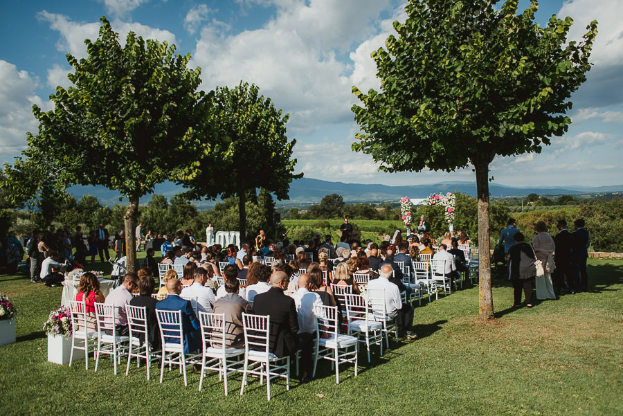 italian style outdoor wedding ceremony, kids will be kids