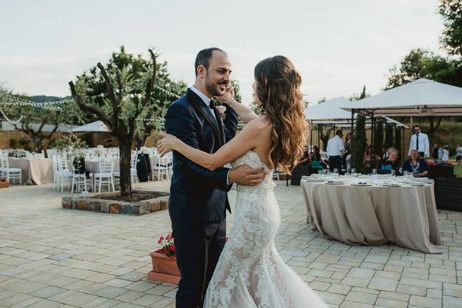 italian style outdoor wedding ceremony, first look