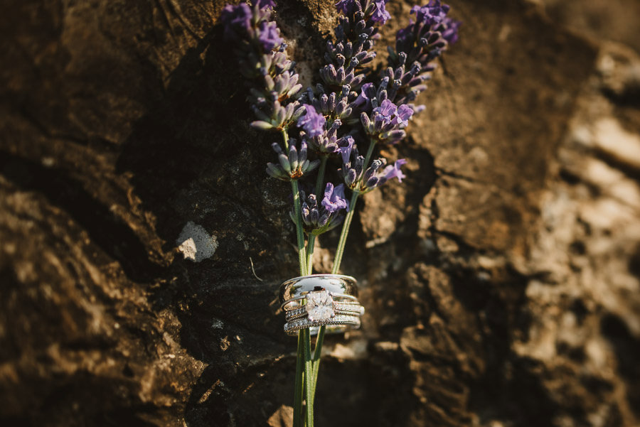 rustic chic rings shot with lavander