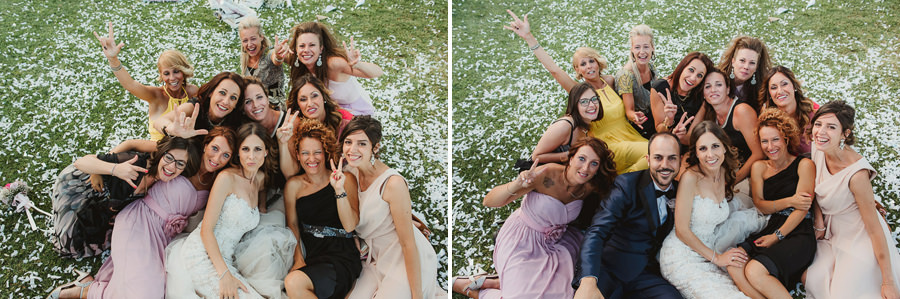 italian style outdoor wedding ceremony, having fun with bridesma
