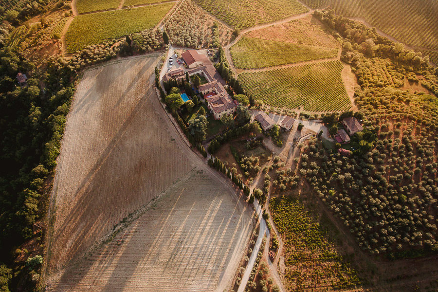 destination wedding in italy sunset tuscan landscape with drone