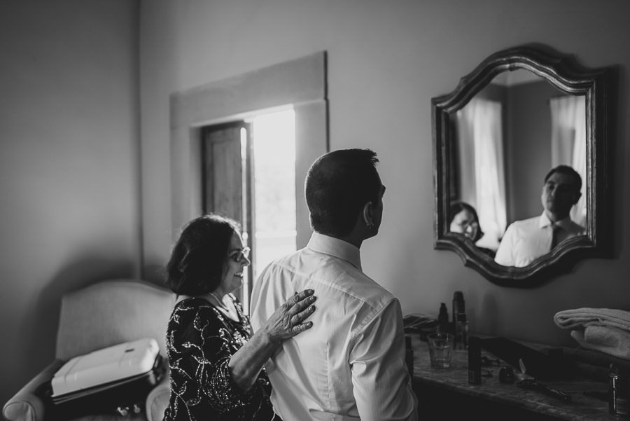 tuscany intimate wedding detail groom getting ready