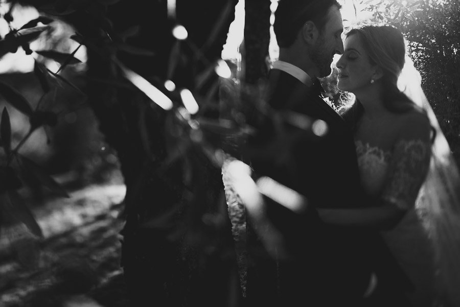 get married in Cortona Villa bride groom olive treee portrait in