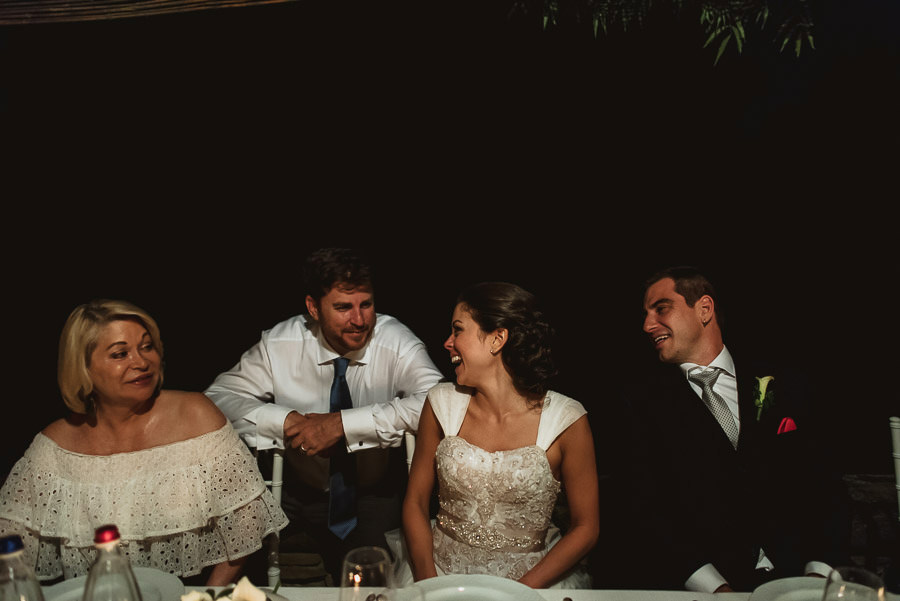 tuscany intimate wedding groom outdoor dinner