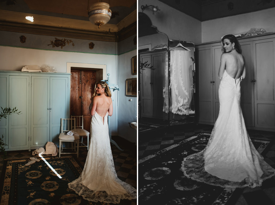 Borgo Sotmennano Wedding Photographer bride wearing wedding dres