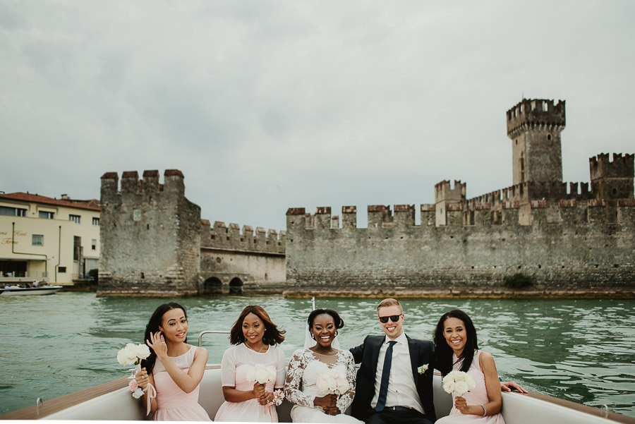 Sirmione Wedding photographer bride groom boat tour garda lake