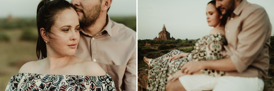 Myanmar engagement photography Bagan couple in temples