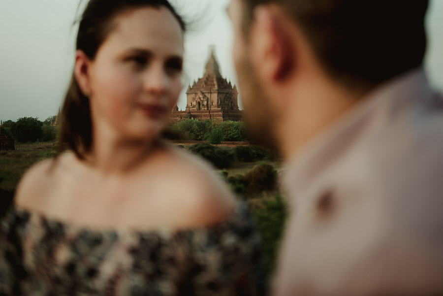Myanmar engagement photography Bagan couple sunset temple roofto