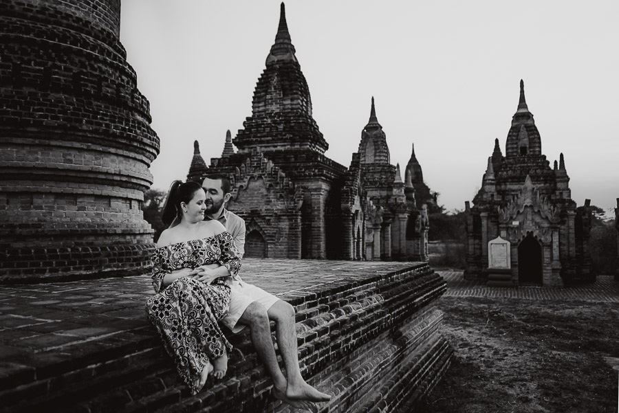 Myanmar engagement photography Bagan intimate couple portrait