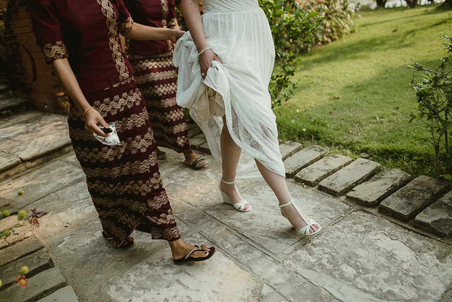 Myanmar wedding photographer Bagan Burma bride wearing wedding d