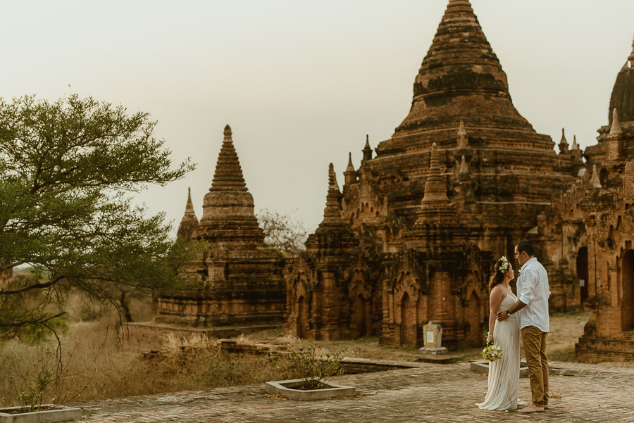 Myanmar wedding photographer Bagan Burma romantic portrait with