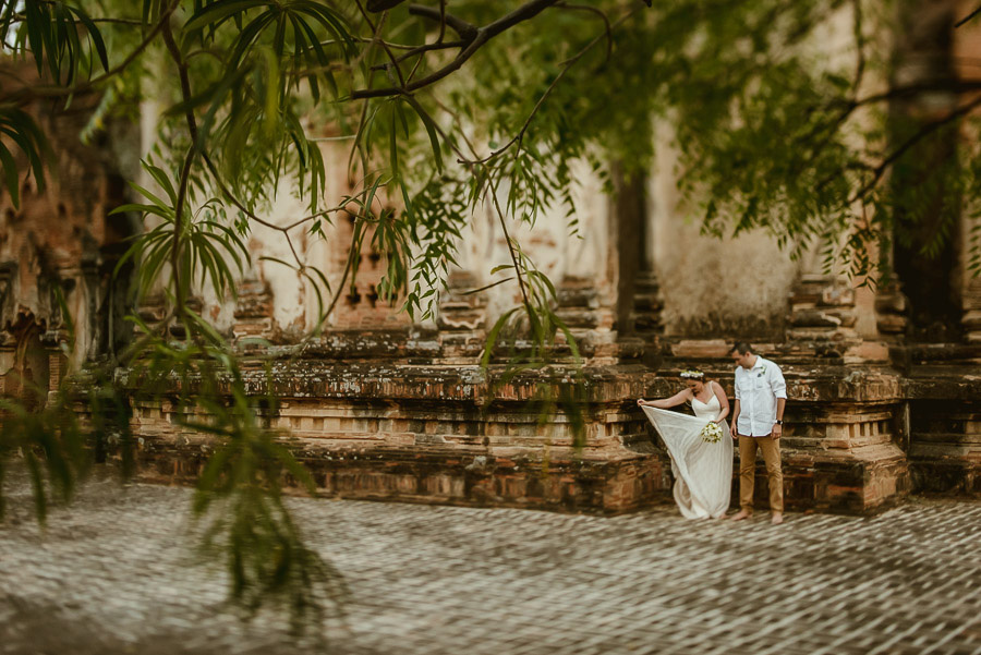 Myanmar wedding photographer Bagan Burma intimate romantic portr