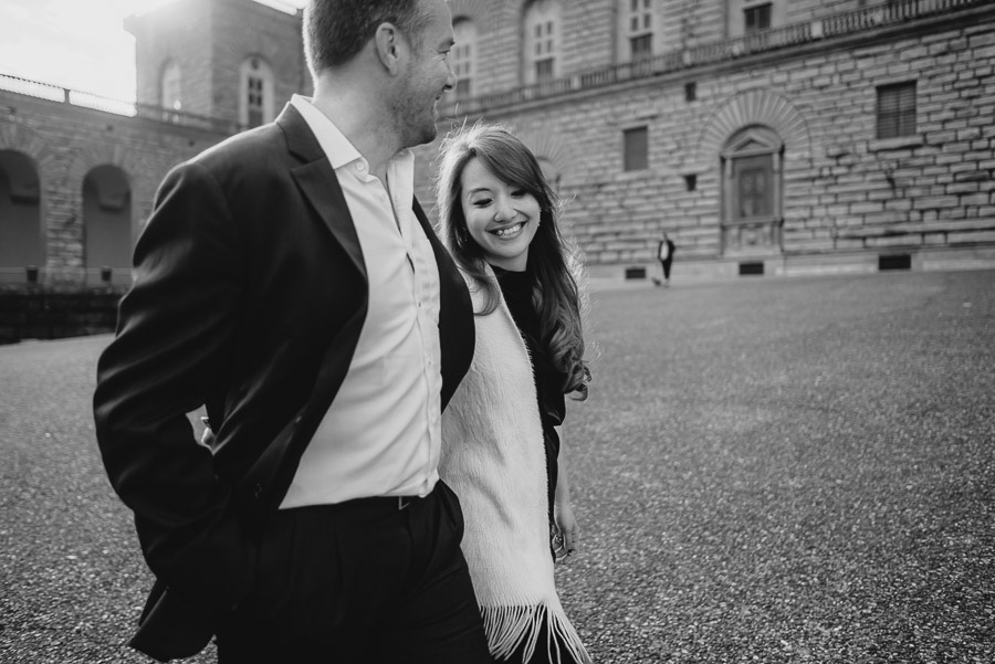Couple portrait photography florence tuscany italy walking throu