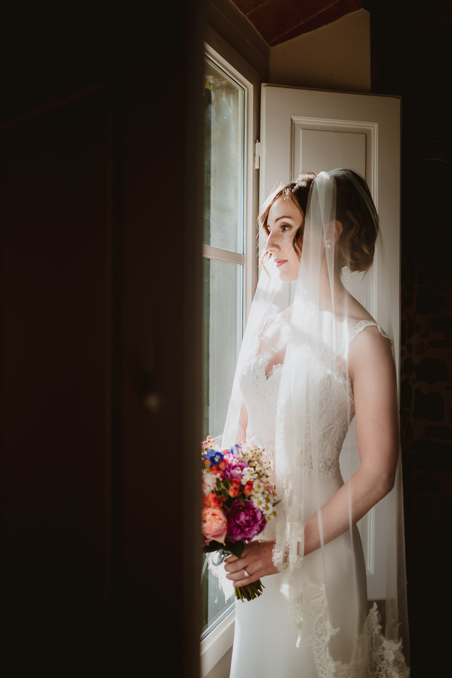 intimate wedding in Tuscan Villa bride solo portrait