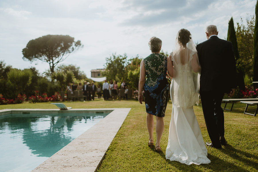intimate wedding in Tuscan Villa bride walks down the aisle