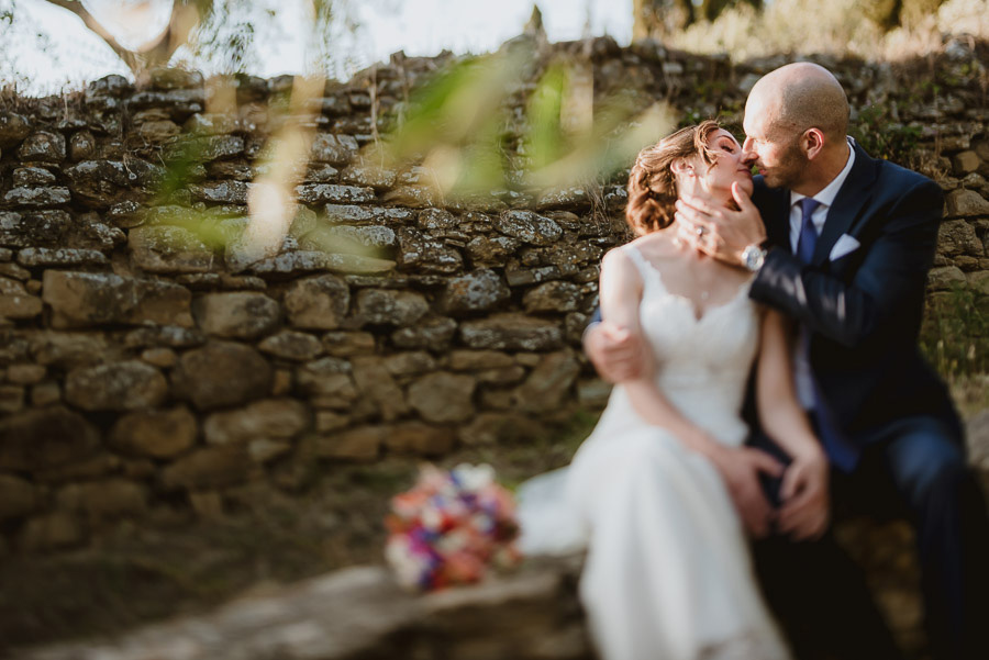 relaxed wedding in Tuscan Villa bride groom olive trees portrait