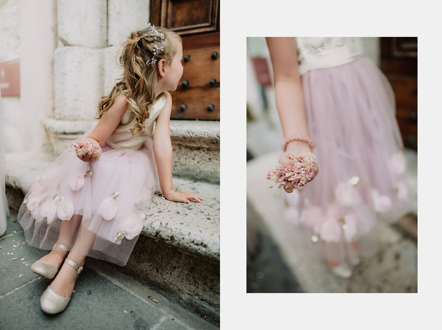 luxury wedding photographer umbria italy htrowing petals