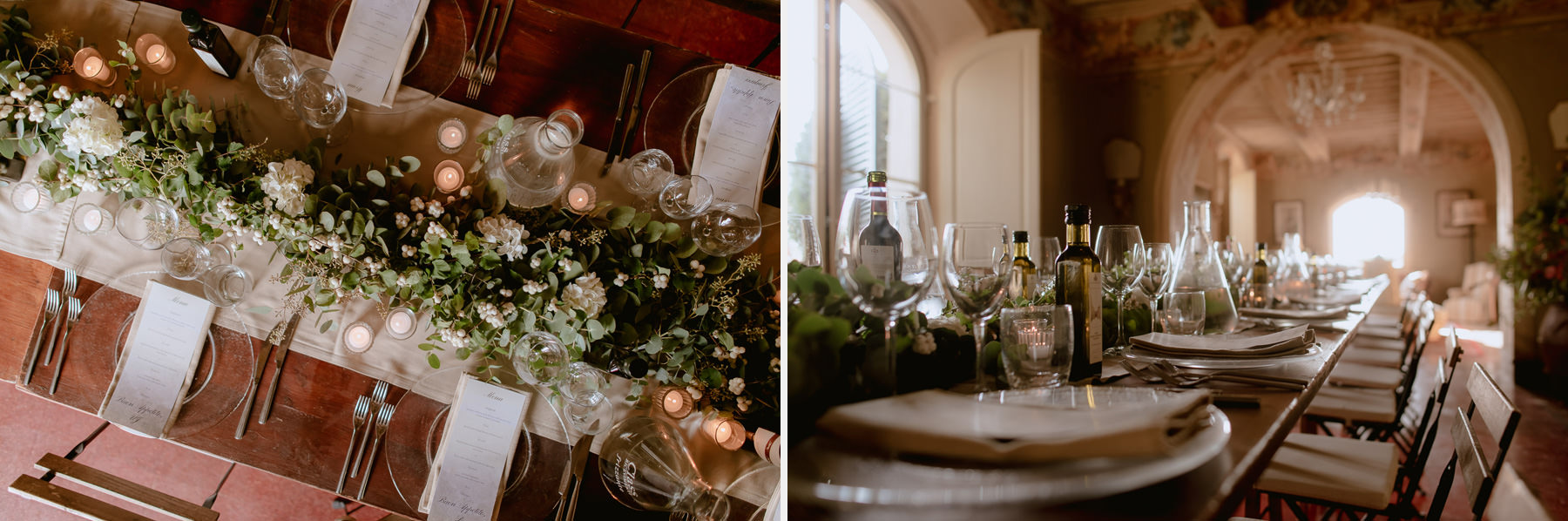 intimate wedding in Tuscany Italy Borgo Stomennano table setup d