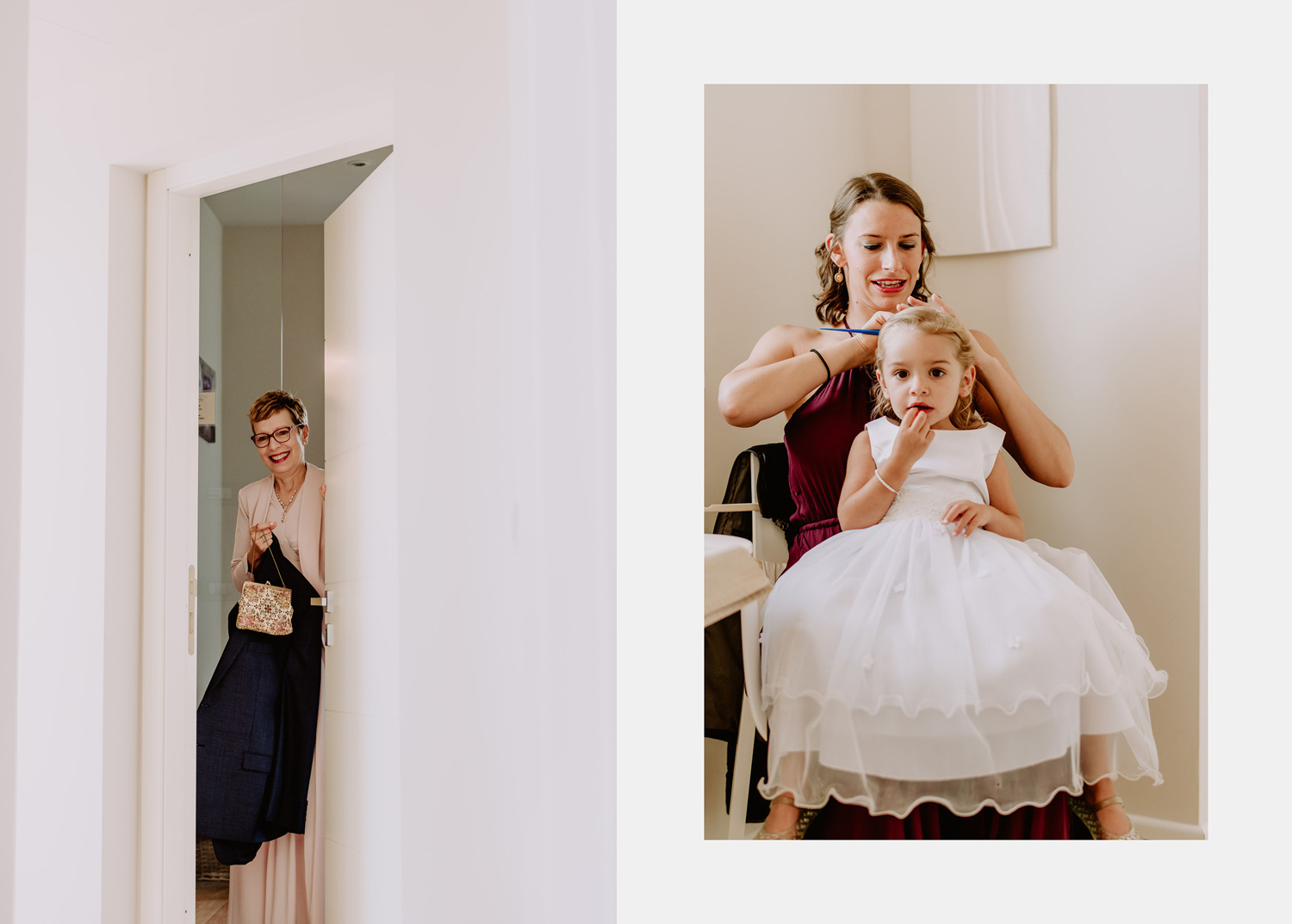 Umbria wedding photographer bridesmaids with bride get ready