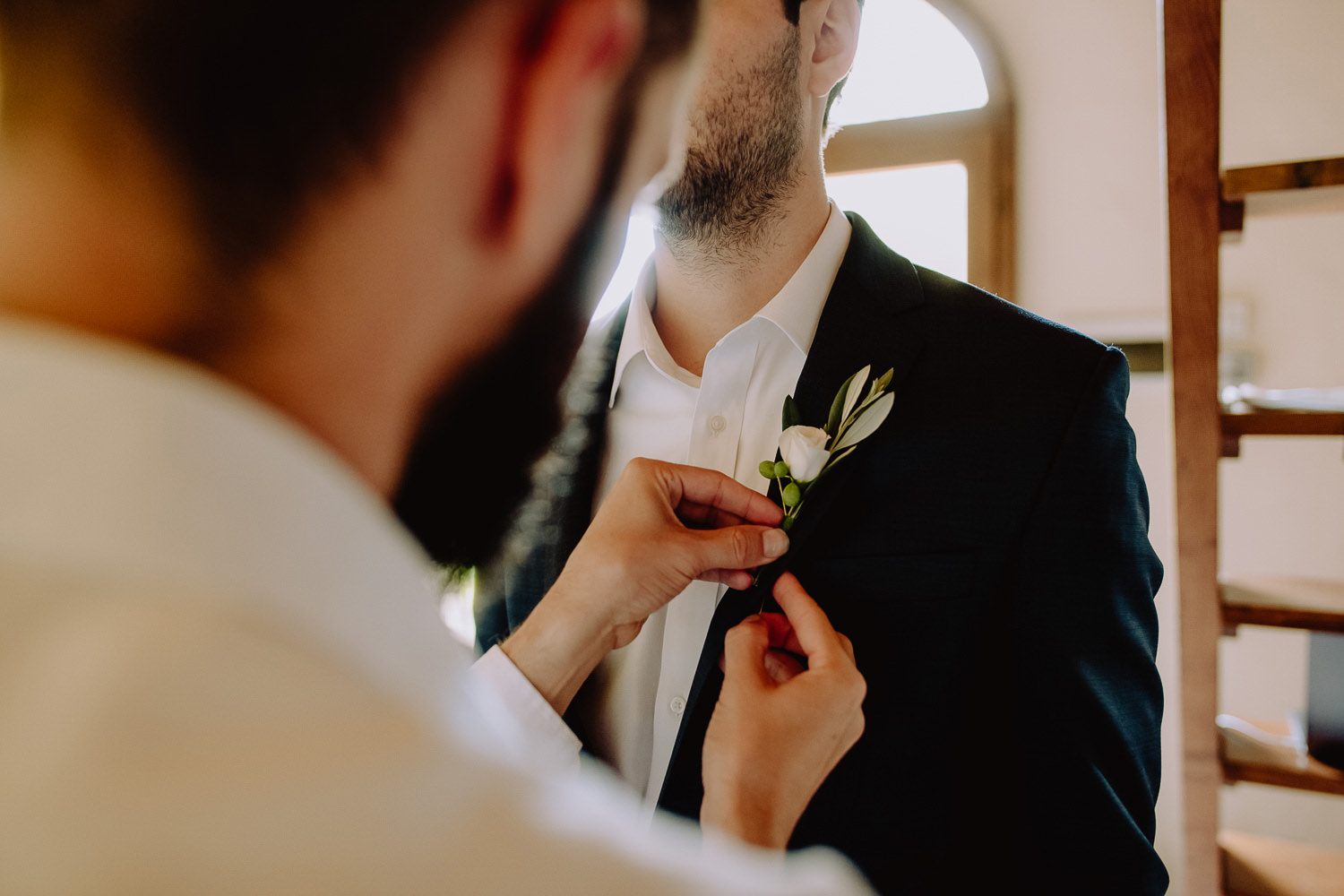 Umbria wedding photographer groom get ready with groomsman