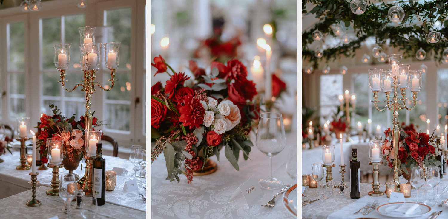 intimate wedding private villa tuscany photographer table setting and decors
