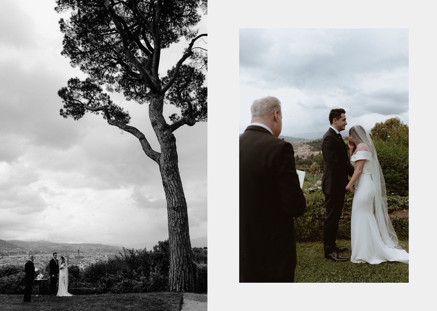 elopement photographer florence torre bellosguardo outdoor rainy ceremony