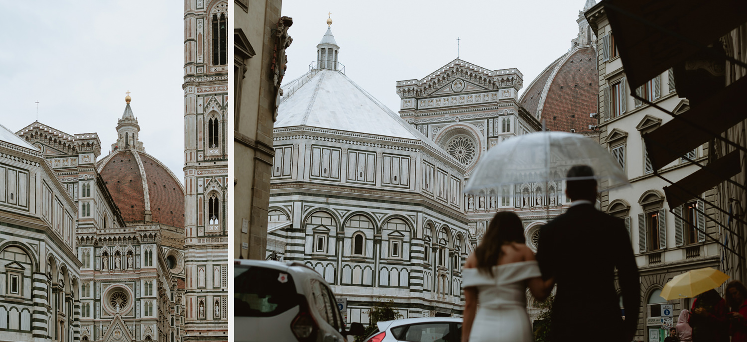 elopement photographer florence rainy portrait session downtown duomo cathedral