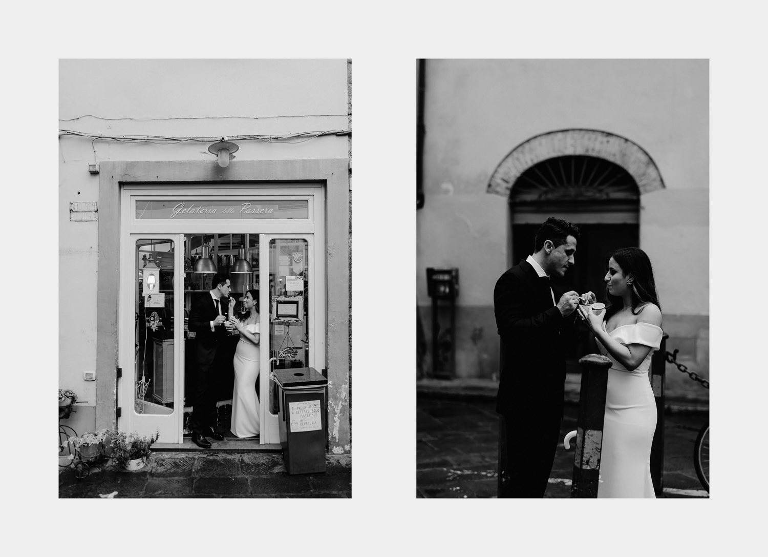 elopement photographer florence candid photos having an icecream downtown