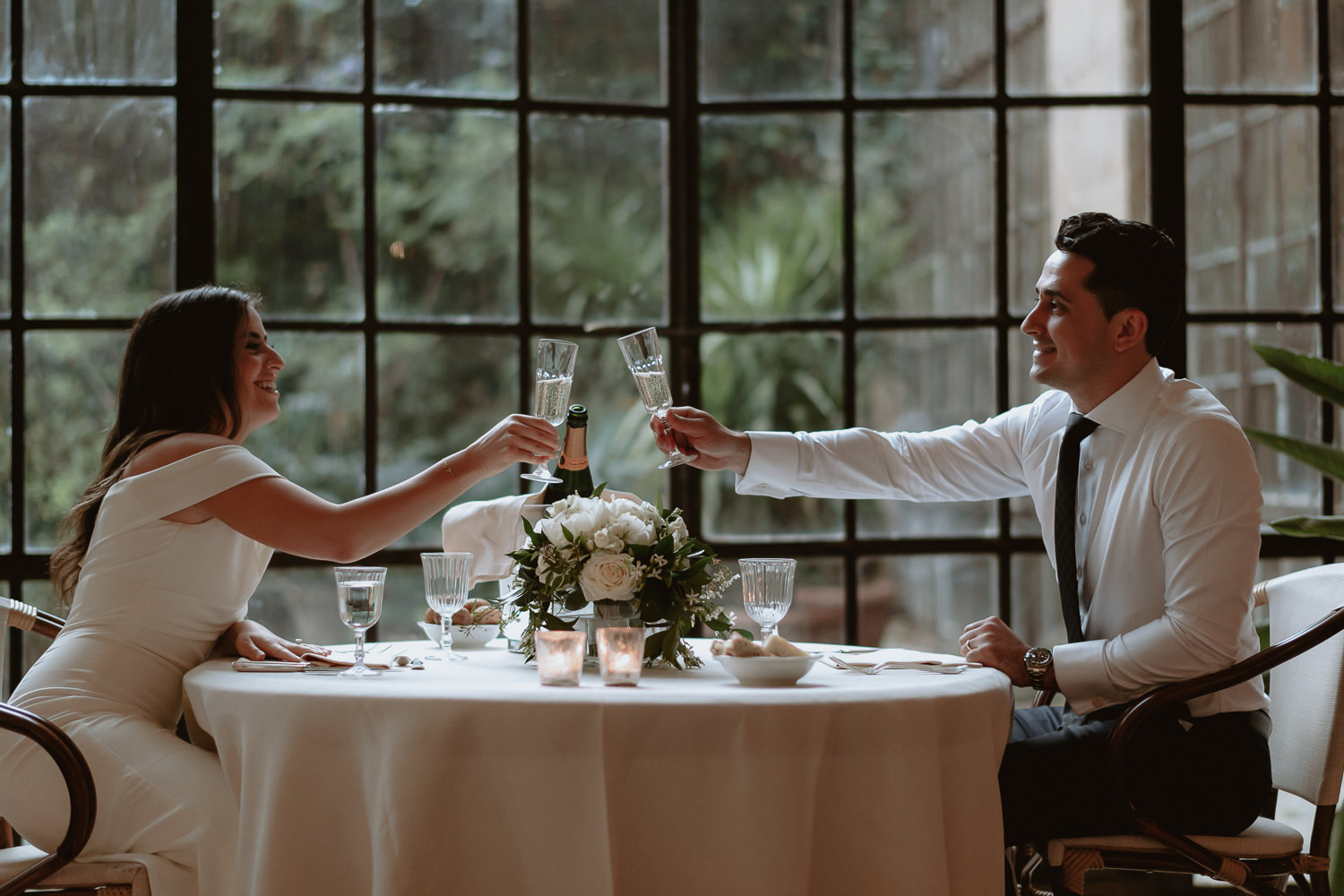 elopement photographer florence torre bellosguardo limonaia winter garden romantic dinner for two