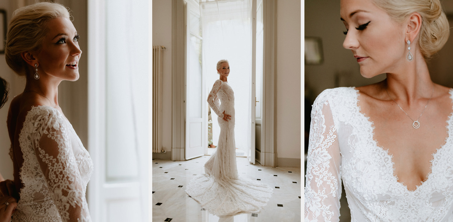 lake como wedding photographer bride getting dress gown dress