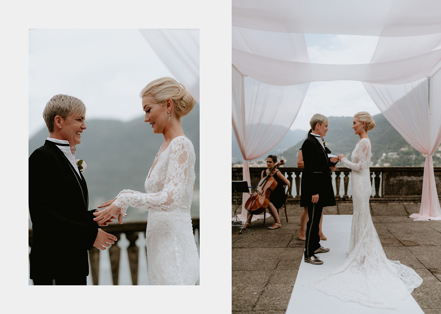 lake como wedding photographer villa pizzo bride crying ring excanges