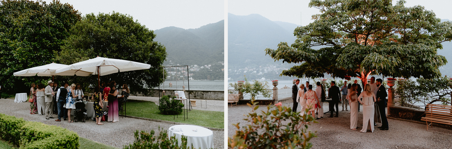 lake como wedding photographer villa pizzo outdoor guest fun enjoying reception palette colors