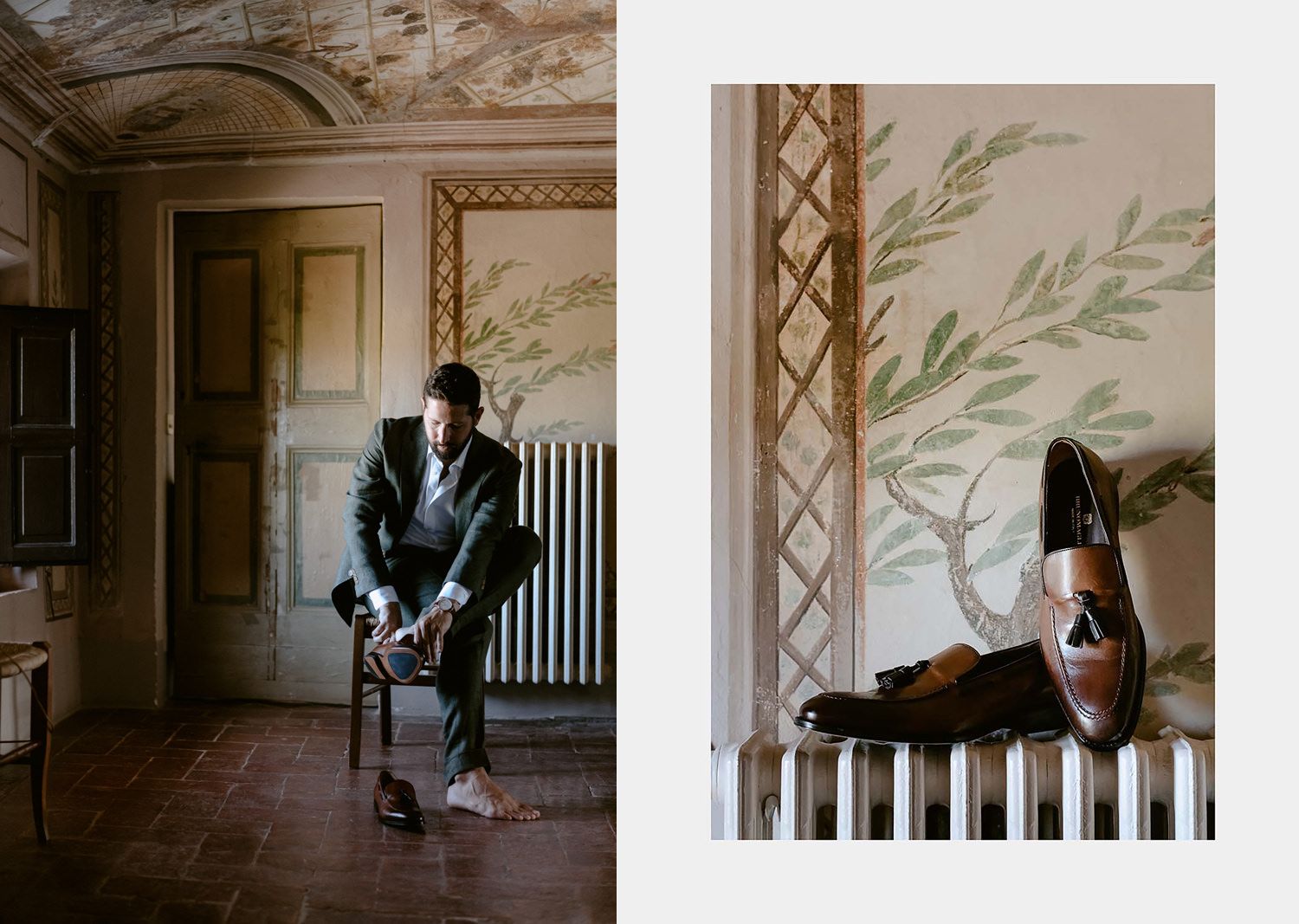 villa catignano wedding photogprapher siena groom friends getting ready moody light