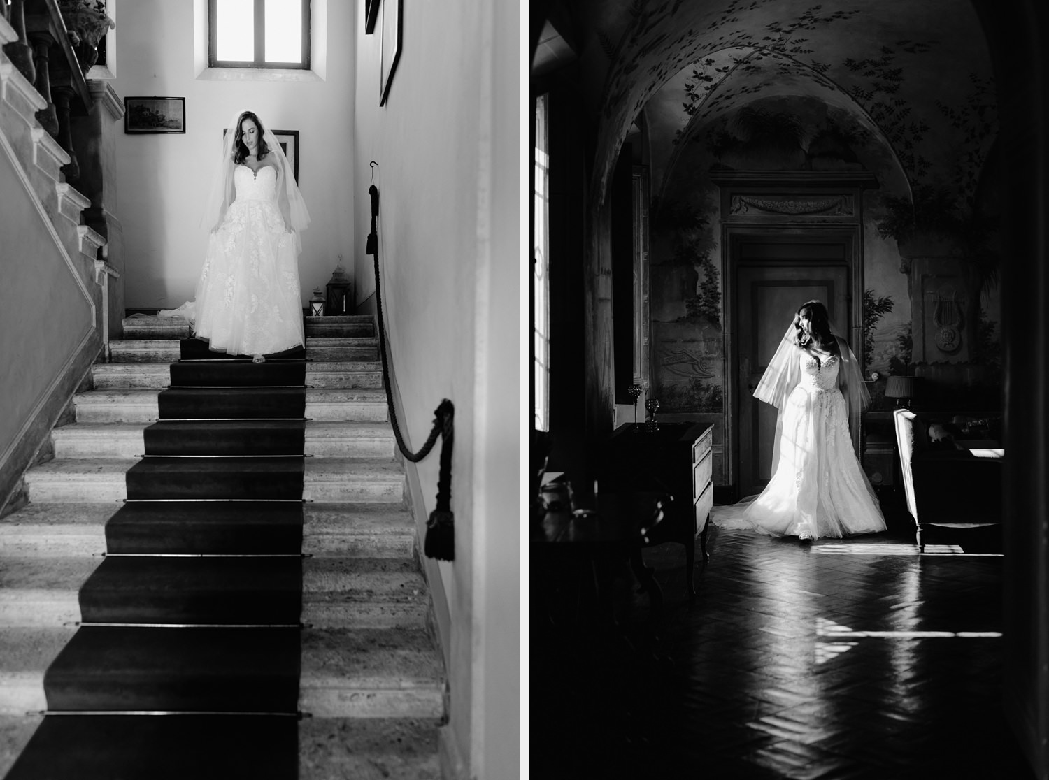 villa catignano wedding photogprapher siena bride laidback getting ready wearing wedding dress