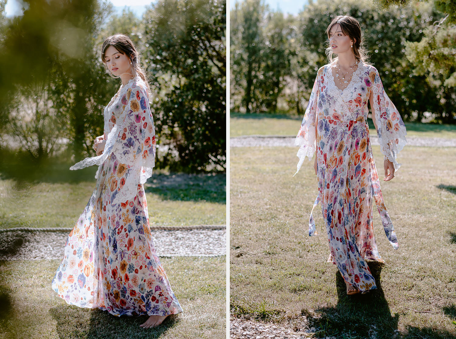 editorial intimate Wedding Inspiration in Tuscan Rolling Hills bride petticoat dressing gown outdoor