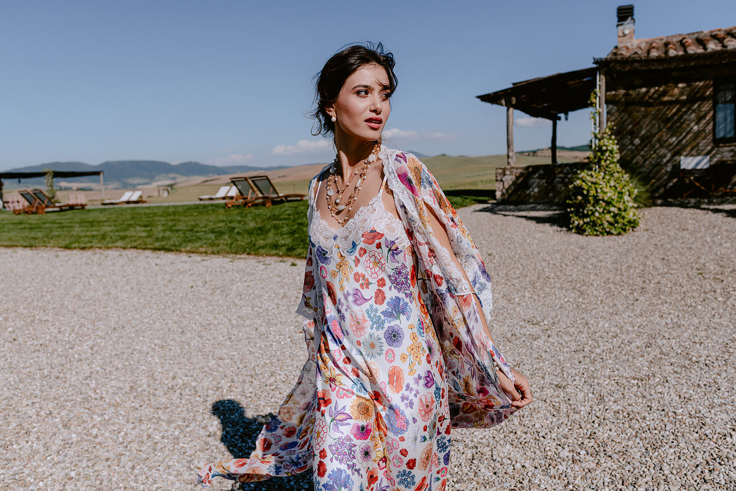 editorial Wedding Inspiration Tuscan Rolling Hills bride in petticoat and dressing gown outdoor fashion vibe