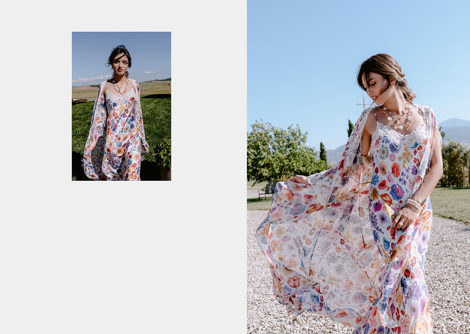 editorial intimate Wedding Inspiration in Tuscan Rolling Hills bride in petticoat dressing gown fashion vibe