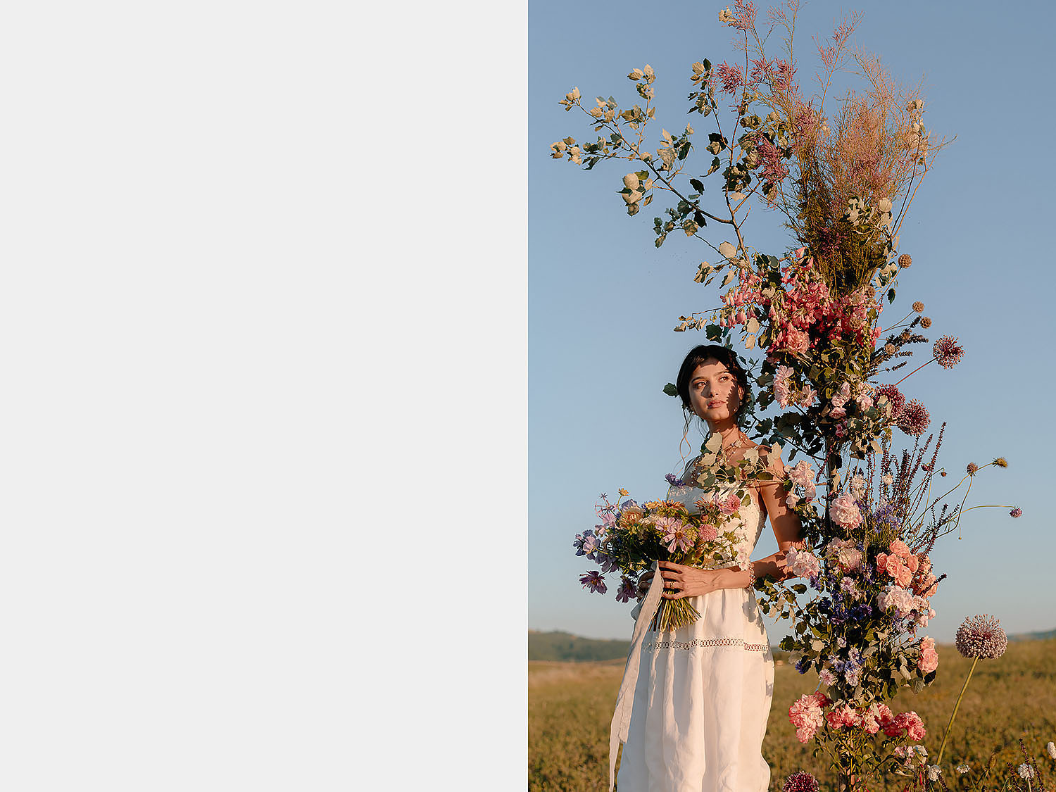 editorial intimate Wedding Inspiration Tuscan Rolling Hills bride portraiture with flower
