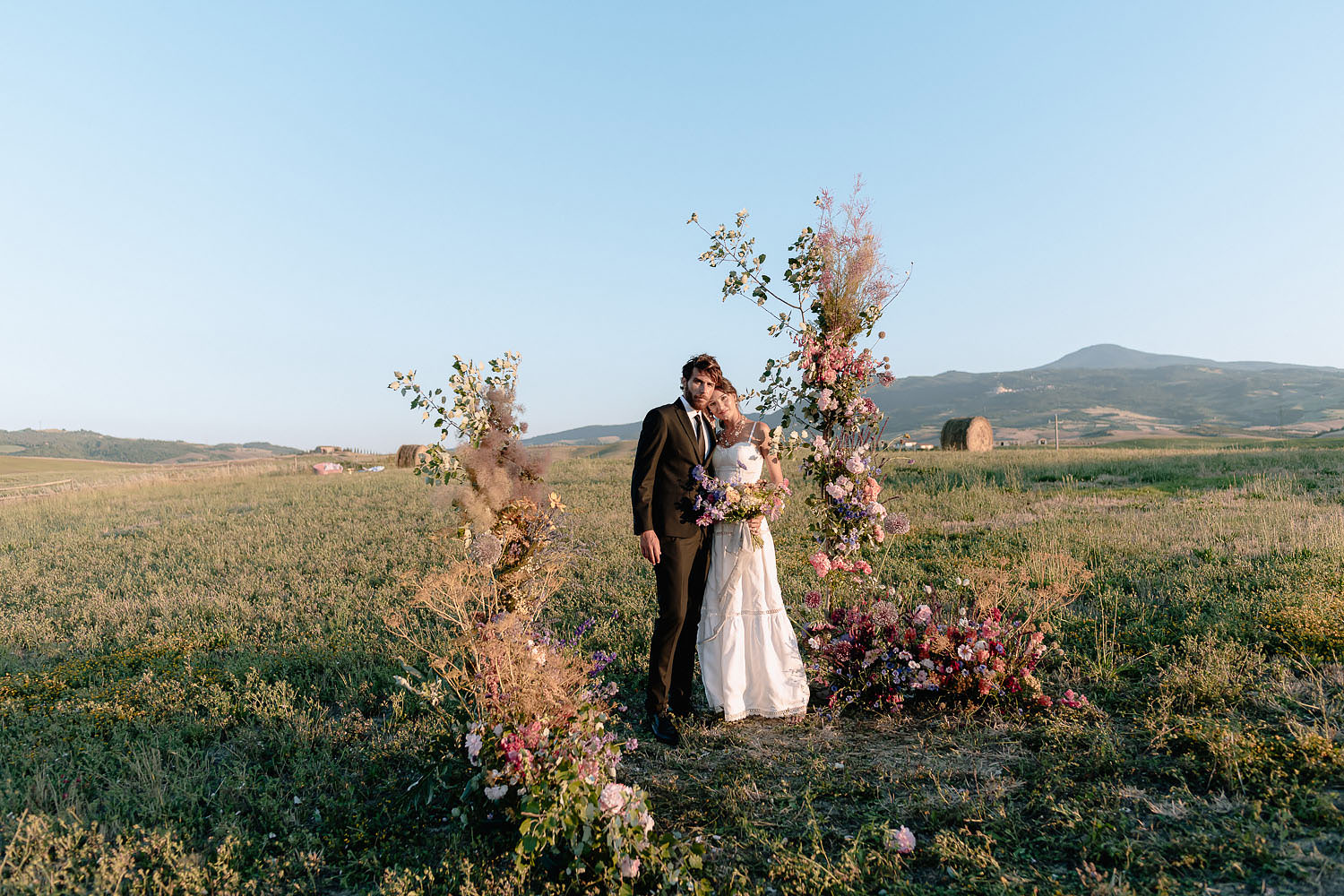 editorial intimate Wedding Inspiration Tuscan Rolling Hills bride and groom portrait