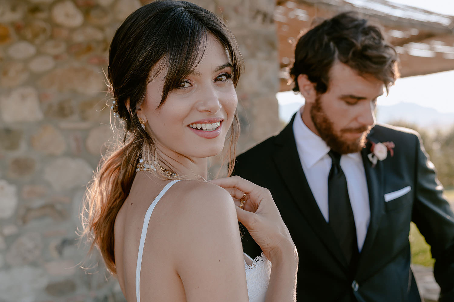 editorial intimate Wedding Inspiration Tuscan Rolling Hills bride and groom portrait in wedding dress suite