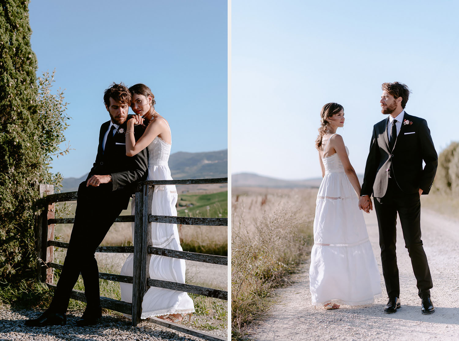 intimate Wedding Inspiration in Tuscan Rolling Hills bride and groom portrait iin sunset