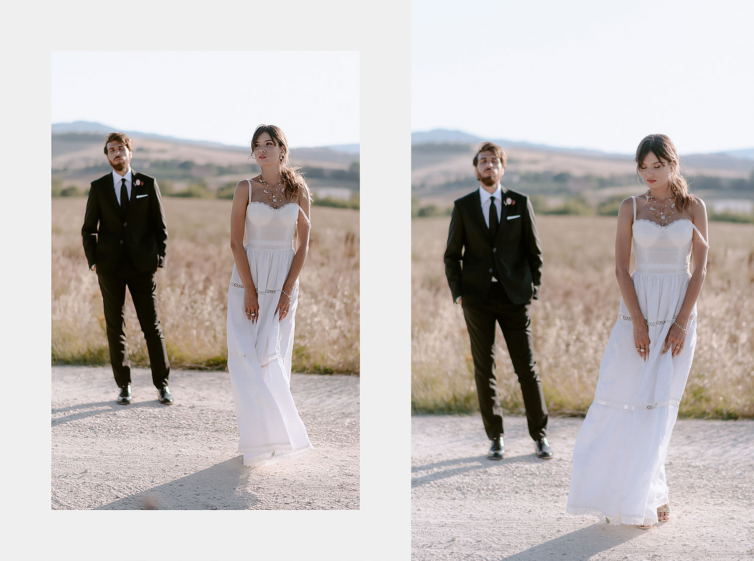 intimate Wedding Inspiration in Tuscan Rolling Hills bride and groom portrait in sunset tuscan landscape