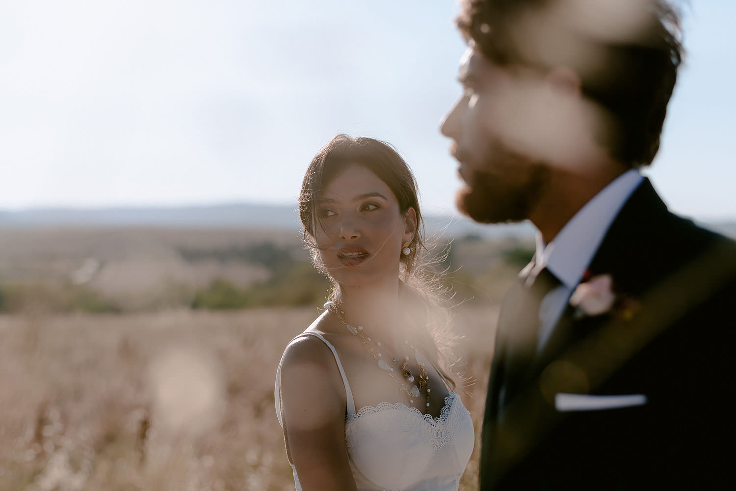 editorial intimate Wedding Inspiration Tuscan Rolling Hills bride and groom portrait sunset