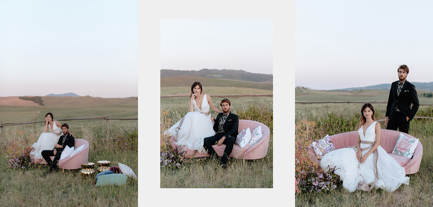 editorial intimate Wedding Inspiration in Tuscan Rolling Hills bride groom sunset tuscan field sofa fascion vibe