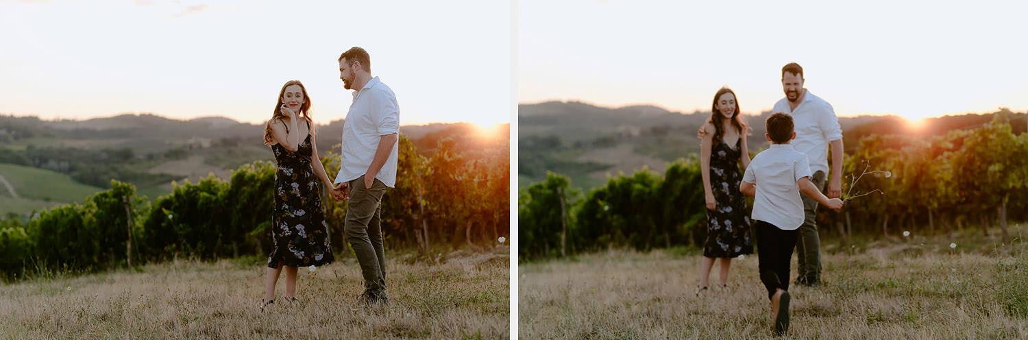 family photographer florence tuscany countryside sunset modern timeless editorial romantic