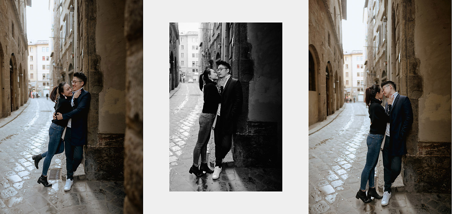 pre wedding photos in florence couple portraits tiny alleys street downtown
